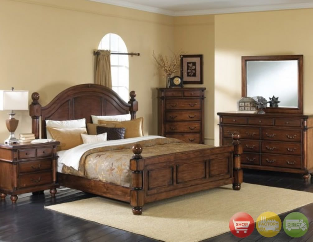 Best King Poster Bed 6 Pc Bedroom Furniture Set Distressed With Pictures