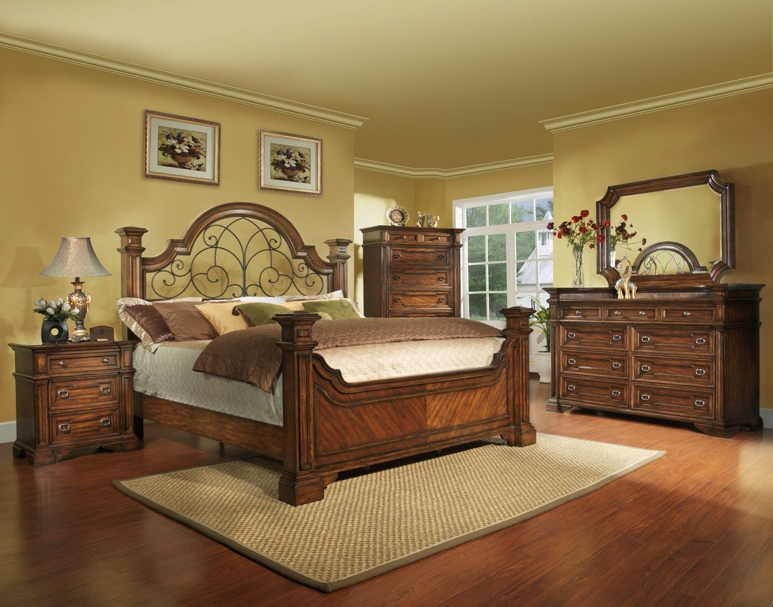 Best King Size Antique Brown Bedroom Set With Iron Wood Free With Pictures