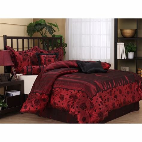 Best Queen Size 7 Piece Bedding Comforter Set Red Black Bed Set With Pictures