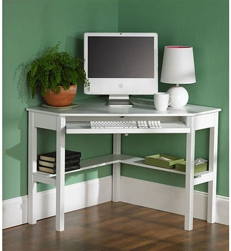 Best White Birch Corner Desk With Keyboard Shelf Bottom Shelf Bedroom Study Compact With Pictures