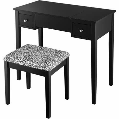 Best Black Bedroom Vanity Set With Leopard Fabric At Hayneedle With Pictures