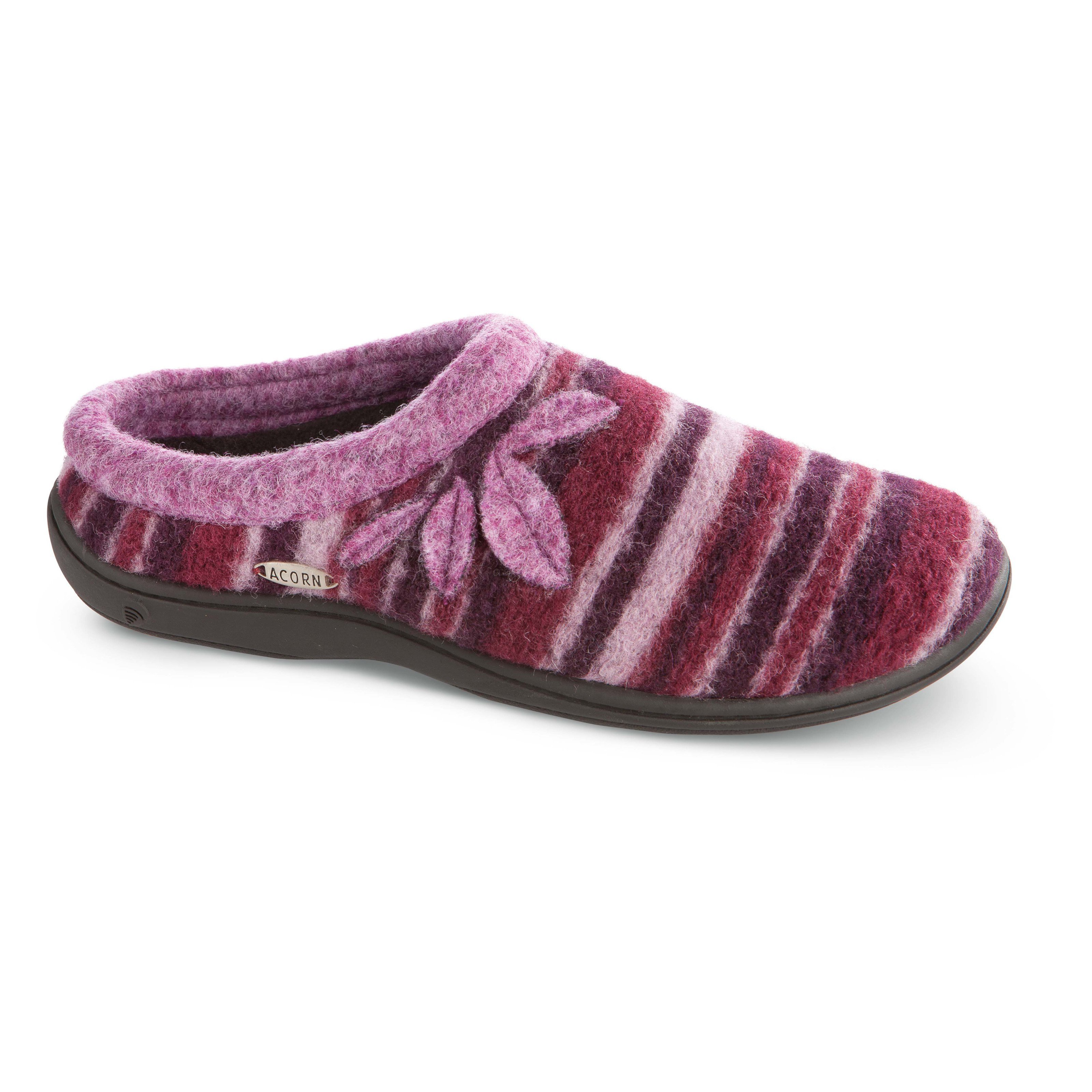 Best Acorn Womens Dara Slip On Slippers Plum Stripe At Hayneedle With Pictures