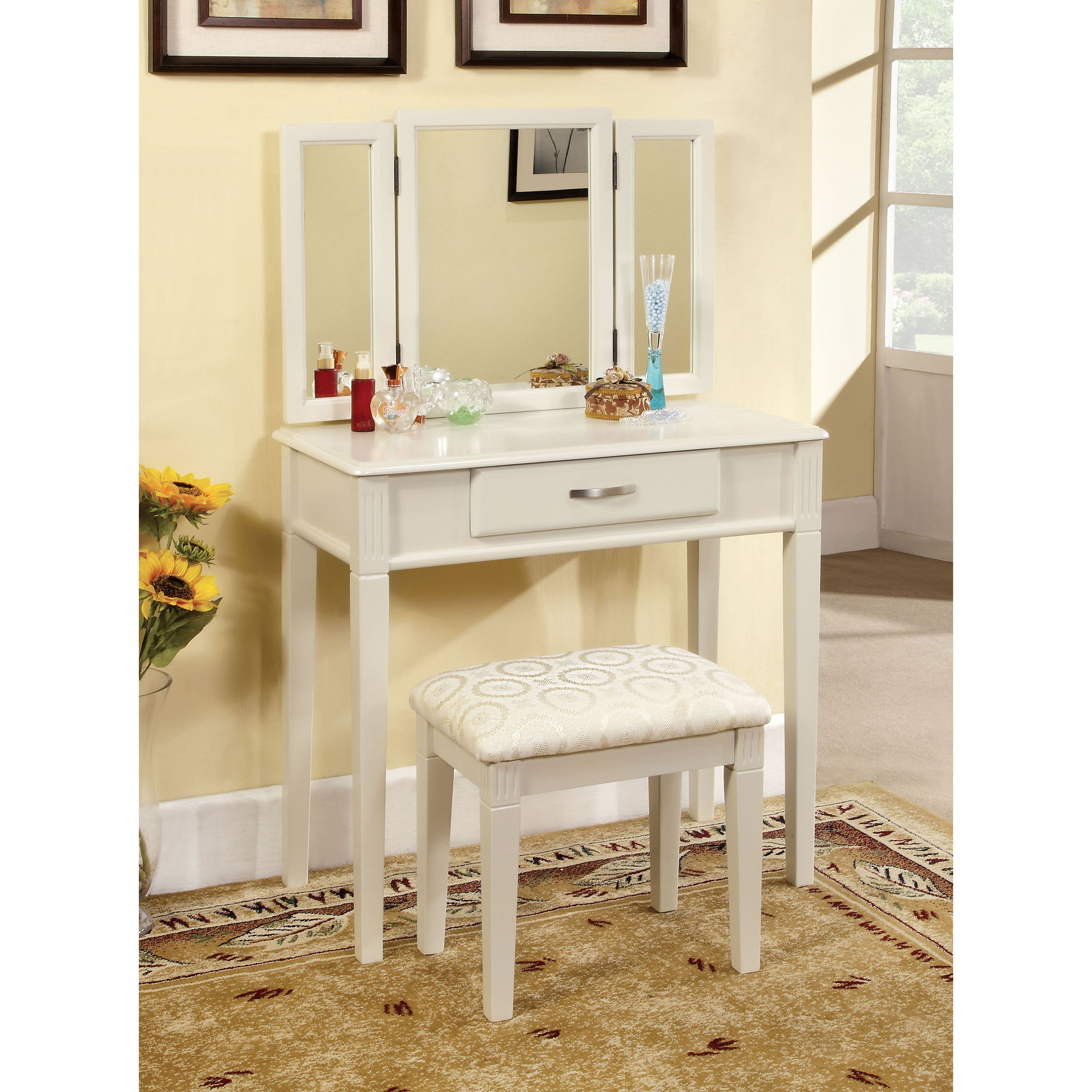 Best Furniture Of America Thompson Bedroom Vanity Set White With Pictures Original 1024 x 768
