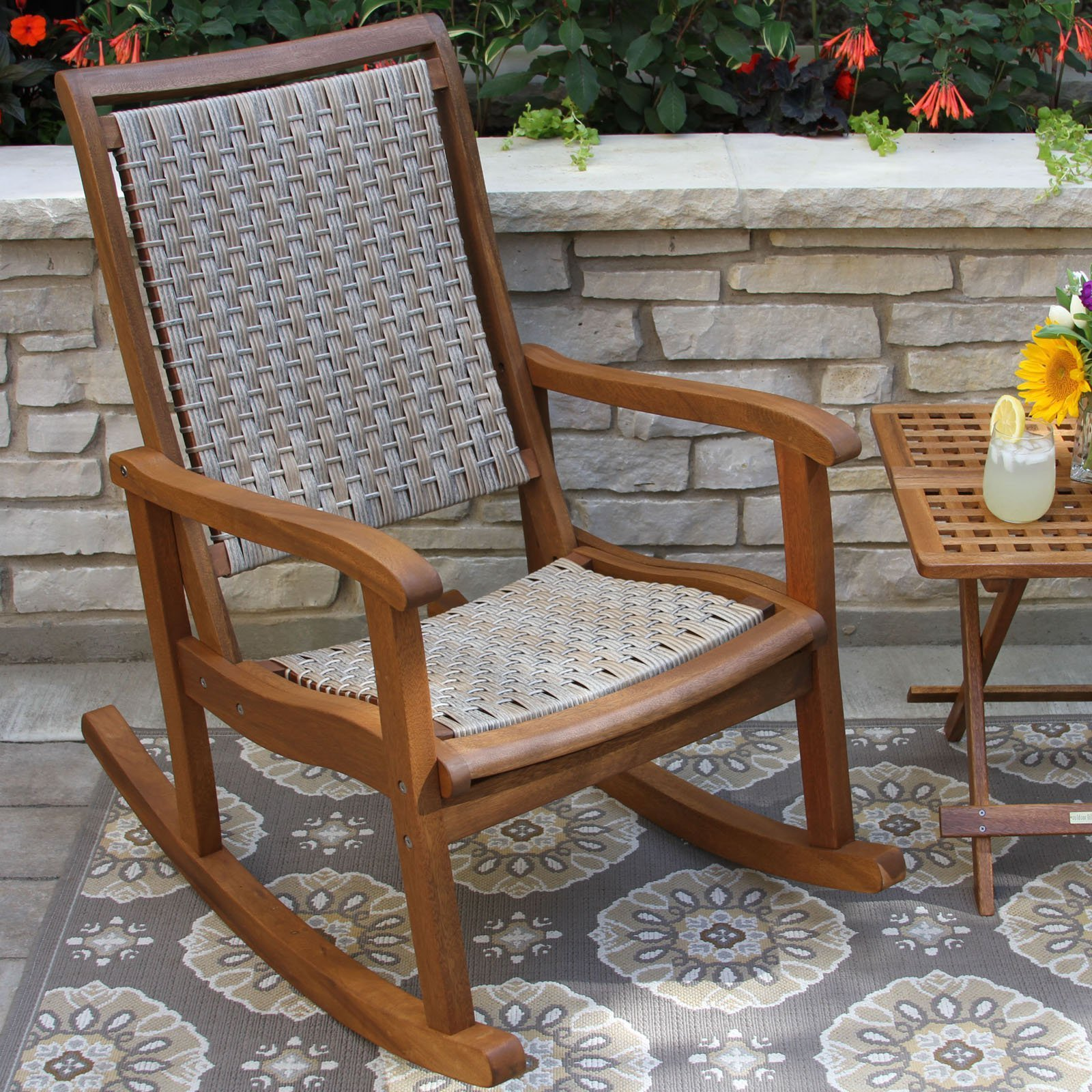 Best Outdoor Interiors Eucalyptus And Wicker Outdoor Rocker With Pictures