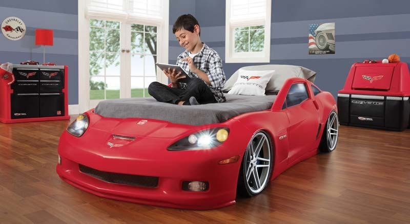 Best Amazon Com Step2 Corvette Bed With Lights Red Silver With Pictures