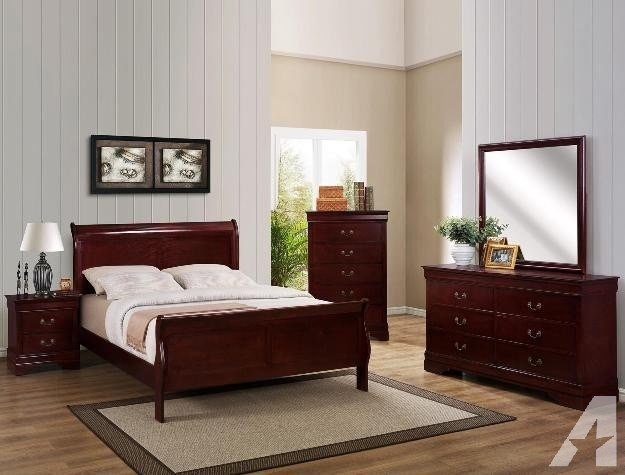 Best 7Pc Solid Wood Complete Queen Or Full Size Bedroom Set Cherry Or Black For Sale In Houston With Pictures
