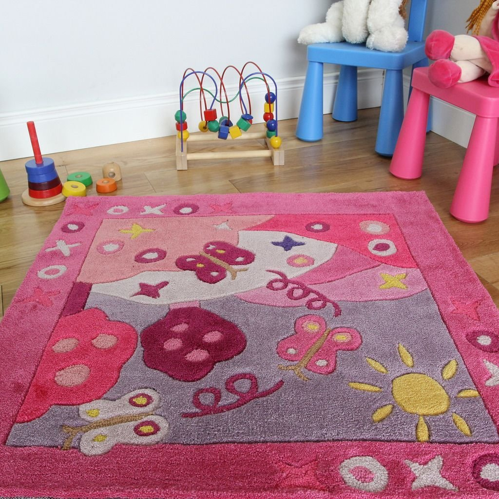 Best New Soft Small 90X90Cm Pink Summertime Bedroom Rug Girls With Pictures