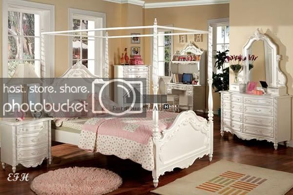 Best 4Pc Victoria White Wood Canopy Twin Full Bedroom Set Ebay With Pictures
