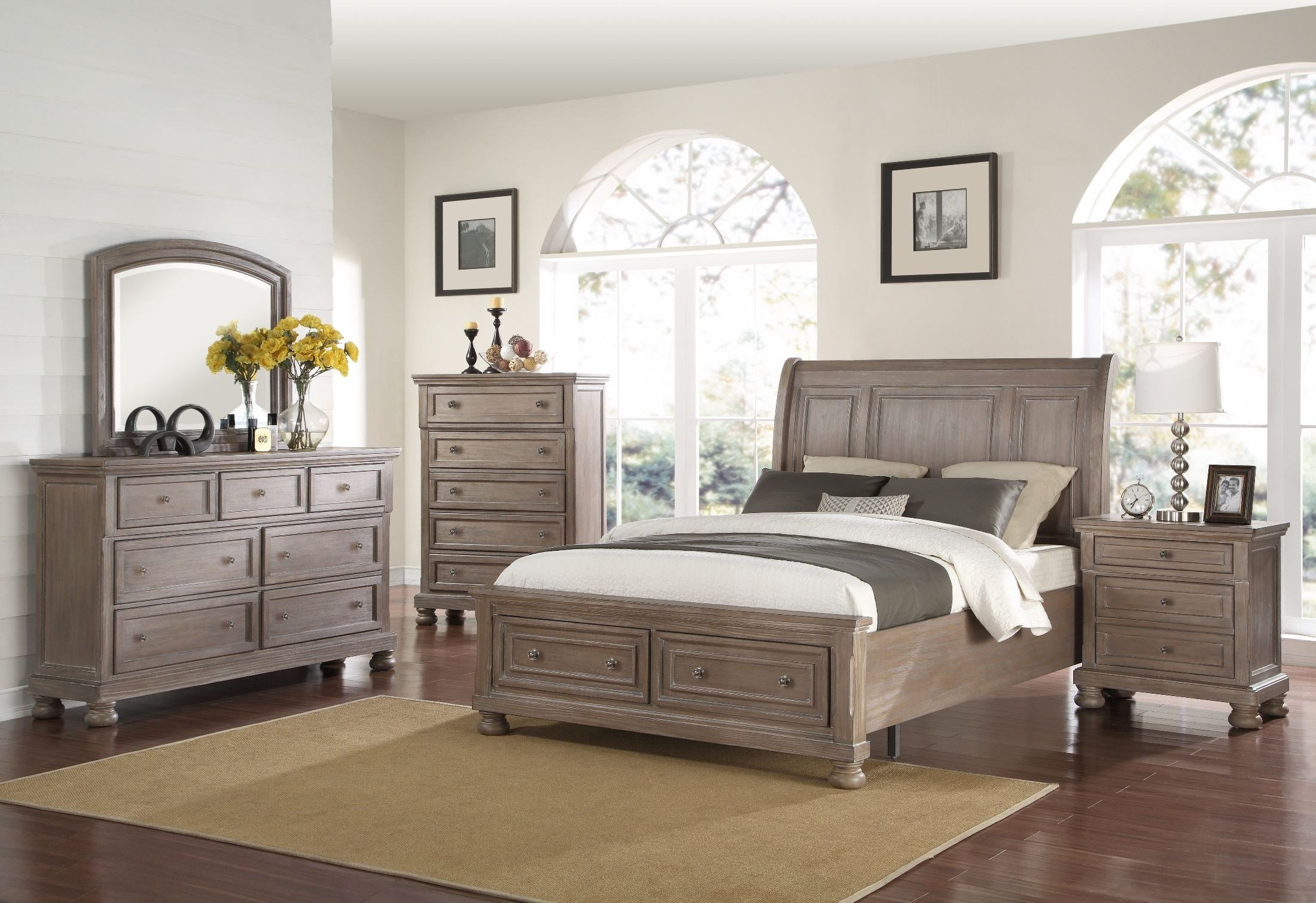 Best Allegra Pewter Storage Sleigh Bedroom Set From New With Pictures