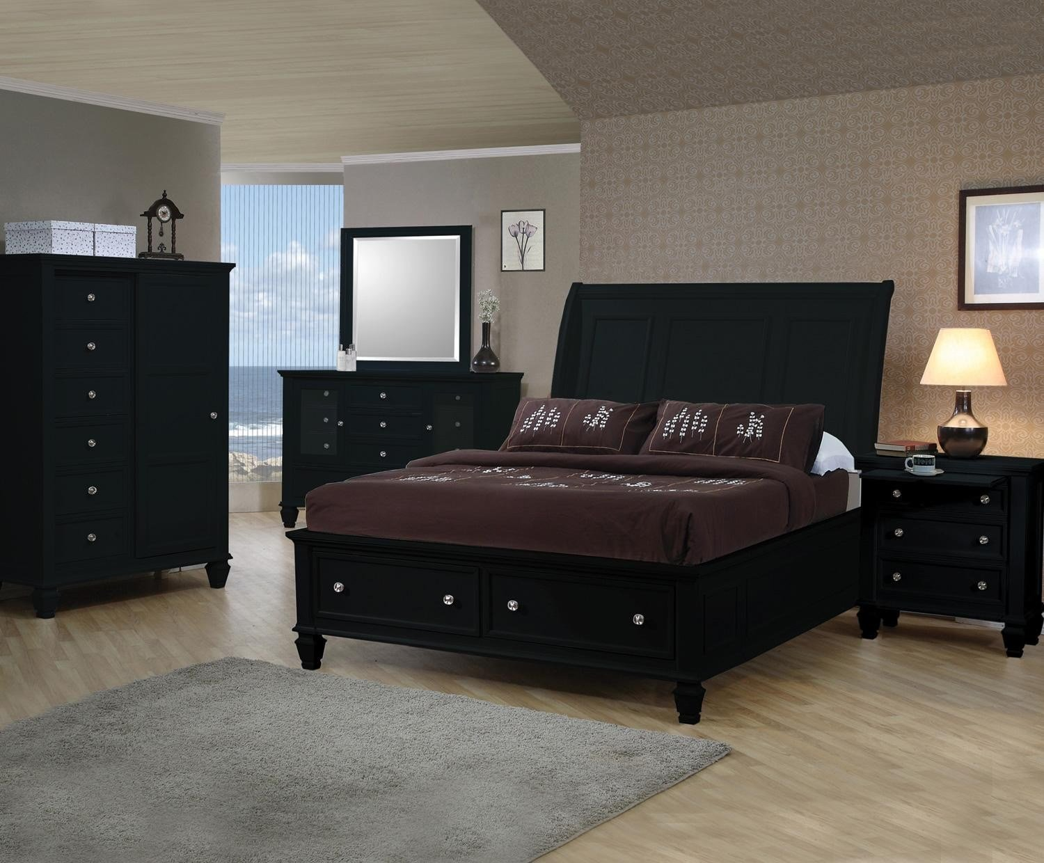 Best Sandy Beach Black Sleigh Storage Bedroom Set From Coaster With Pictures