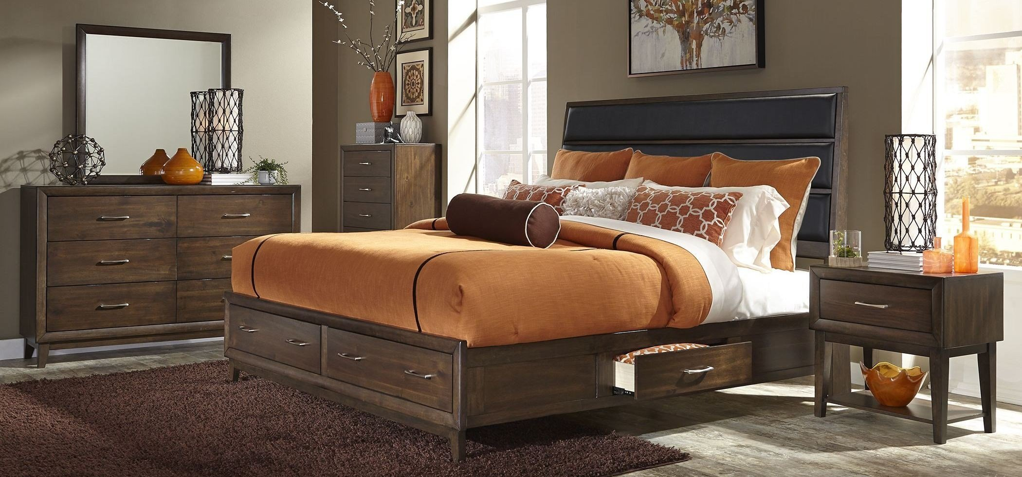 Best Hudson Square Espresso Upholstered Storage Plaform Bedroom With Pictures