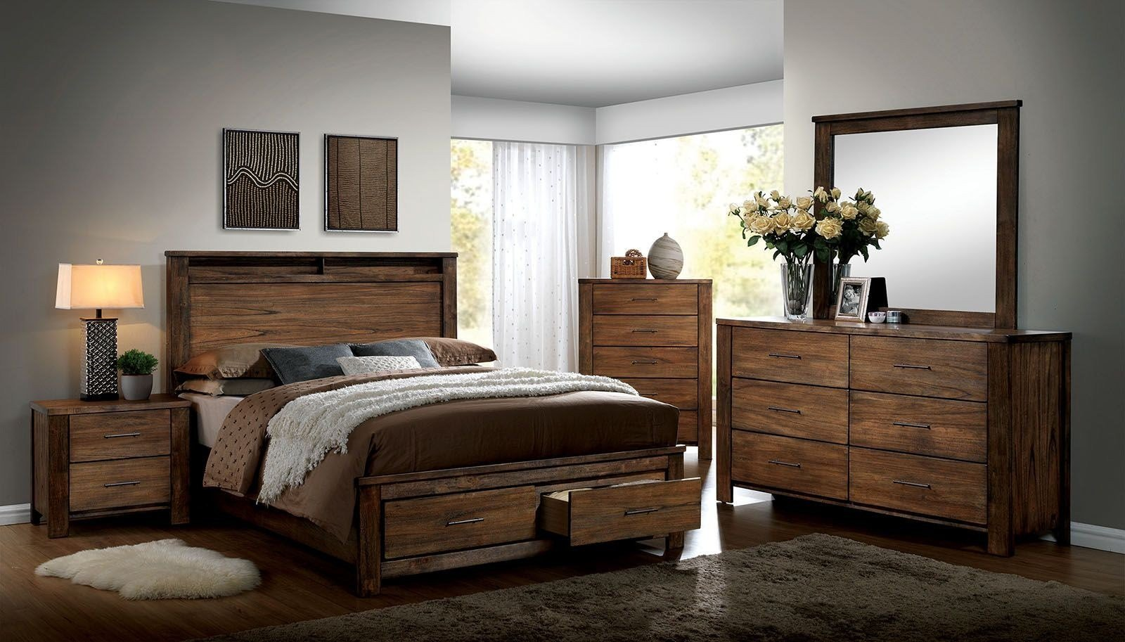 Best Elkton Oak Platform Storage Bedroom Set Cm7072Q With Pictures