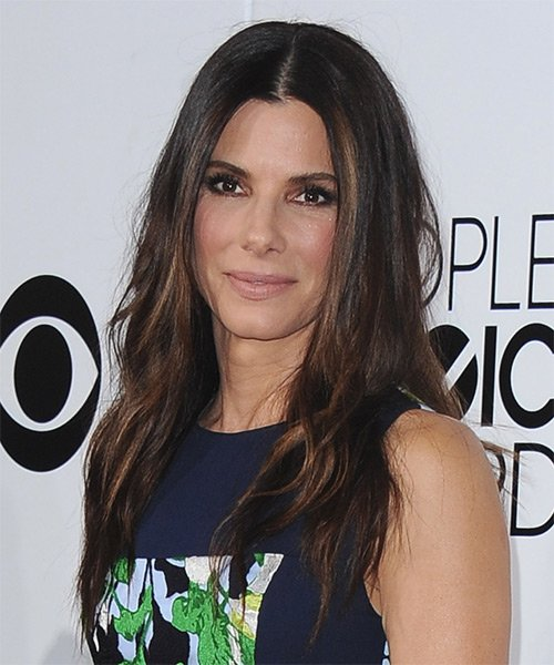 Free Sandra Bullock Long Straight Casual Hairstyle Dark Wallpaper