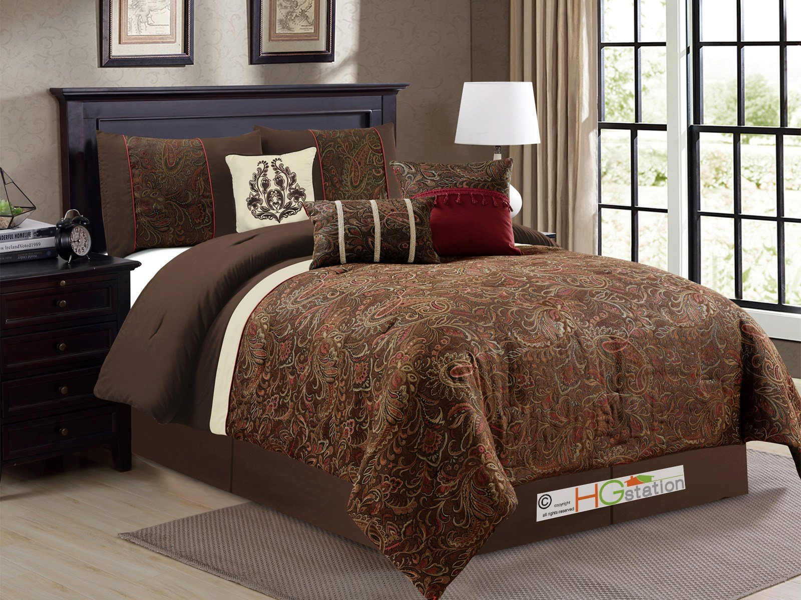 Best 7 P Londyn Chenille Floral Scroll Damask Comforter Set With Pictures