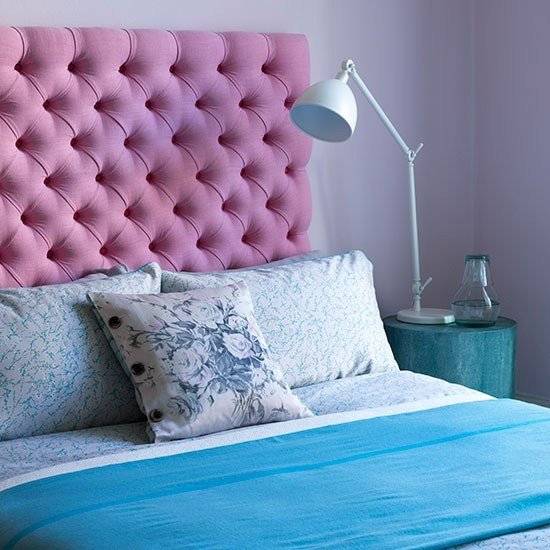 Best Lilac Bedroom With Pink Headboard And Blue Bedlinen With Pictures