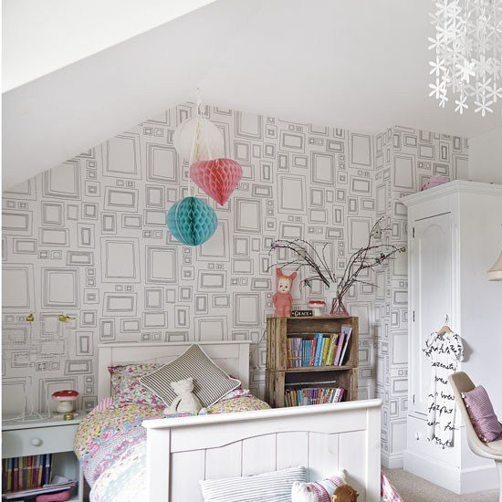 Best Minimalist White Teenage Girl S Bedroom With Feature Wallpaper Teenage Girls Bedroom Ideas With Pictures