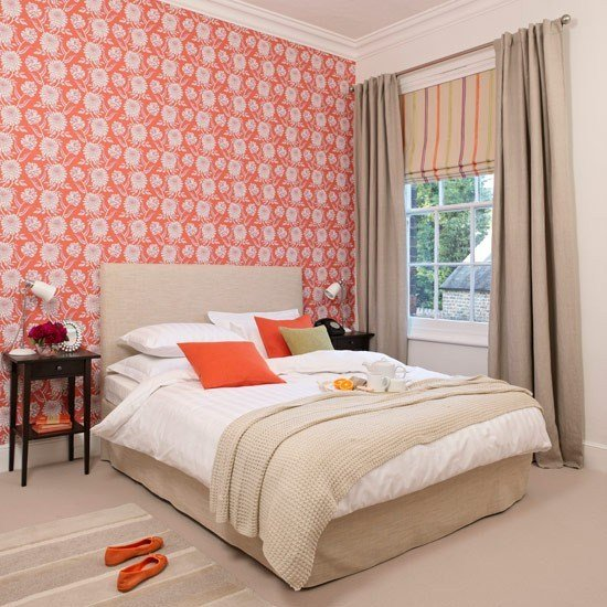 Best Bold Orange Statement Wallpaper Bedroom Wallpaper Ideas With Pictures