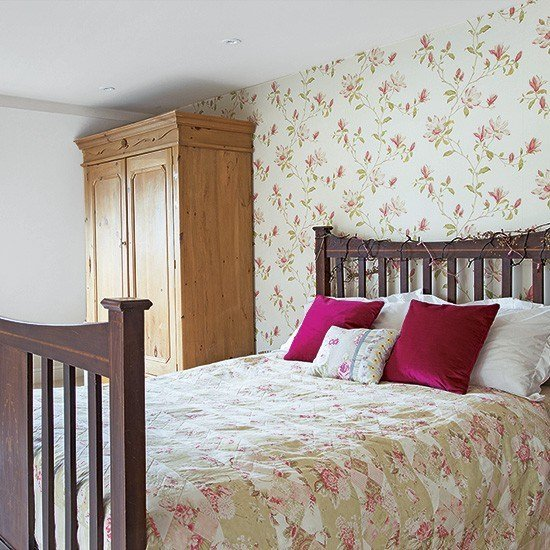 Best Country Bedroom With Floral Wallpaper And Brown Furniture With Pictures