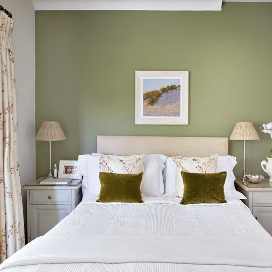 Best Pretty Bedroom With Olive Green Feature Wall Housetohome With Pictures