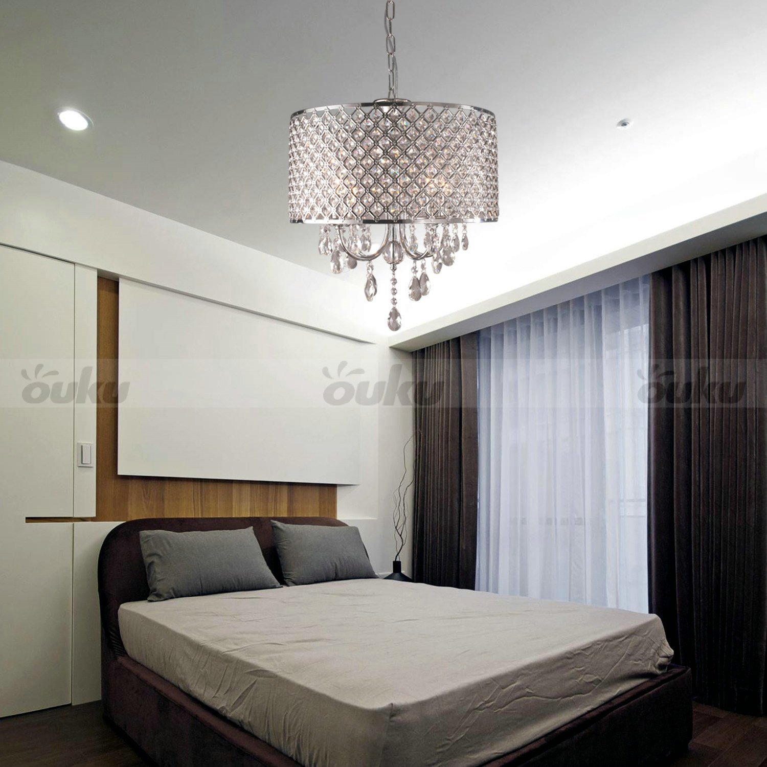Best Drum Chandelier Crystal Modern 4 Lights Ceiling Light Fixture Lamp Pendant Light Ebay With Pictures