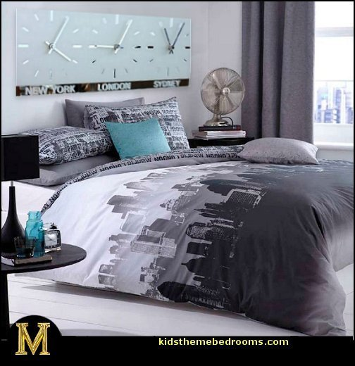 Best Catherine Lansfield City Scape Travel Themed Bedroom With Pictures