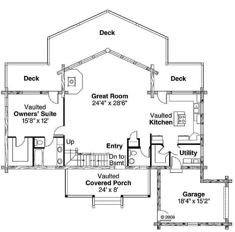 Best Plan 035 00427 2 Bedroom 2 5 Bath Log Home Plan With Pictures