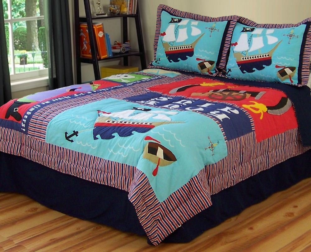 Best Boys Kids Pirate Ship Treasure Twin Quilt Sham Bedding With Pictures