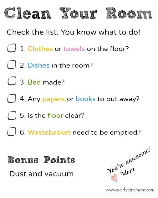 Best Printable Bedroom Cleaning Checklist For Kids With Pictures