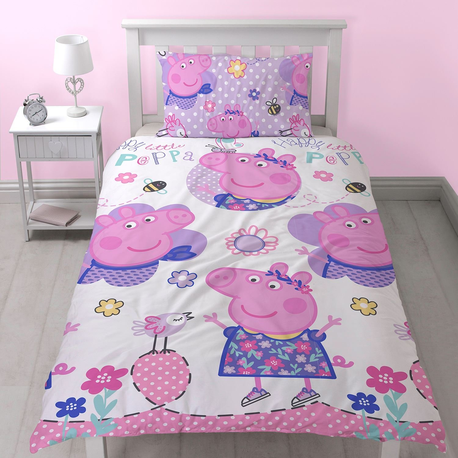 Best Peppa Pig Happy Single Duvet Cover Set Reversible New With Pictures