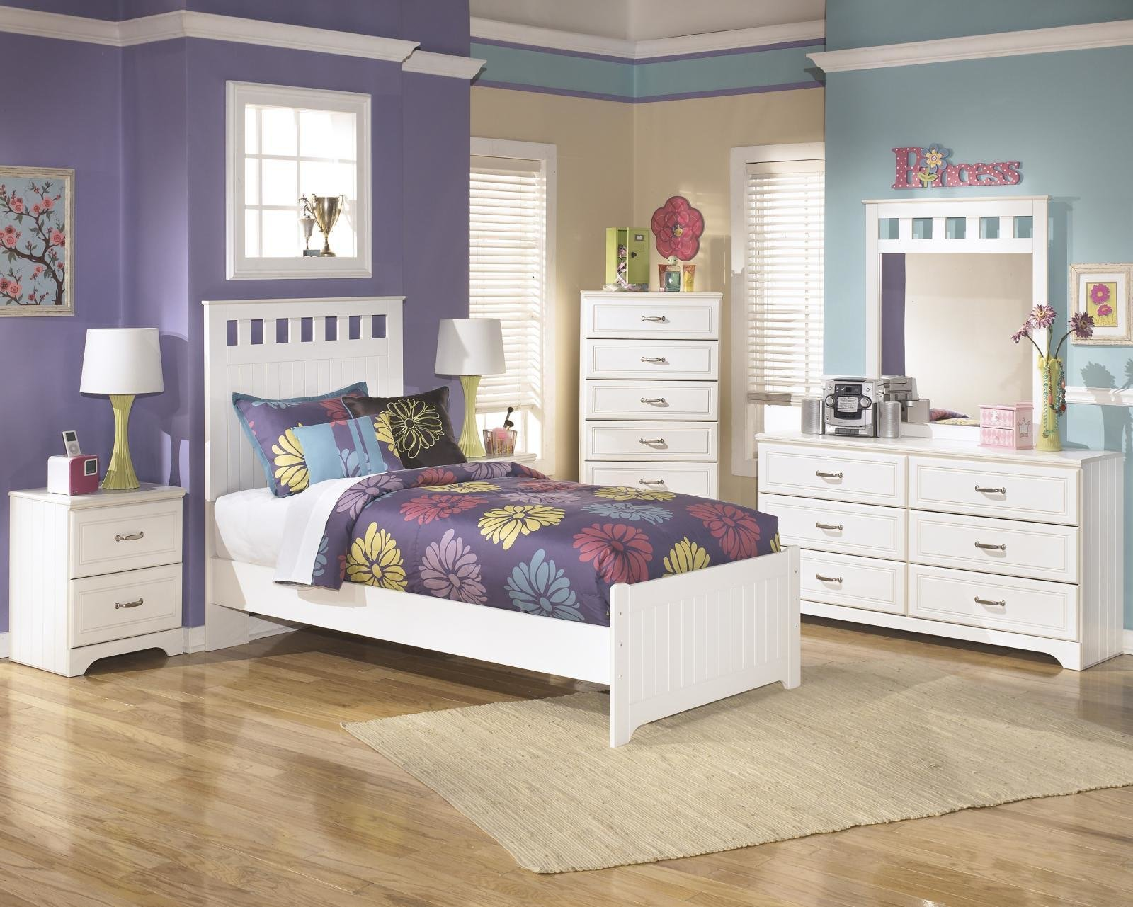 Best Ashley Lulu B102 Twin Size Panel Bedroom Set 6Pcs In White Casual Style Ebay With Pictures