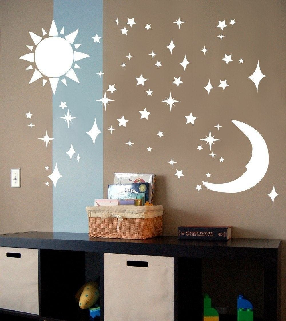 Best Child S Room Decoration Mural Sun Moon Stars Vinyl By With Pictures
