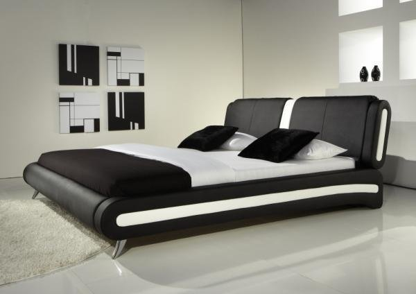 Best Modern Double Or King Size Leather Bed Black White With Pictures