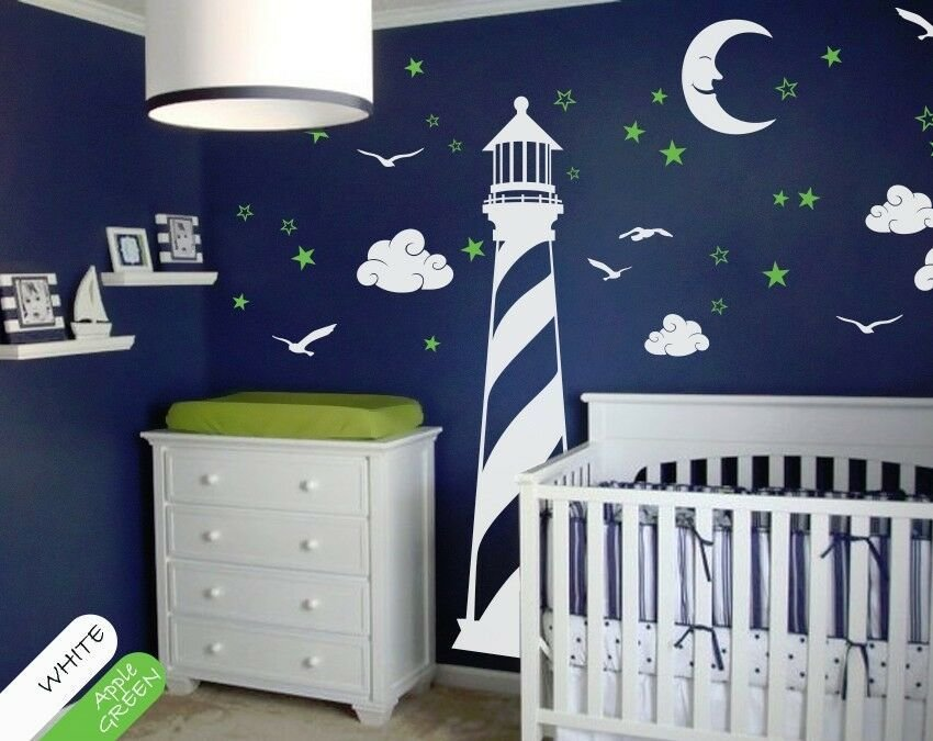 Best Vinyl Wall Decal Lighthouse Moon Stars Clouds Wall Decal With Pictures