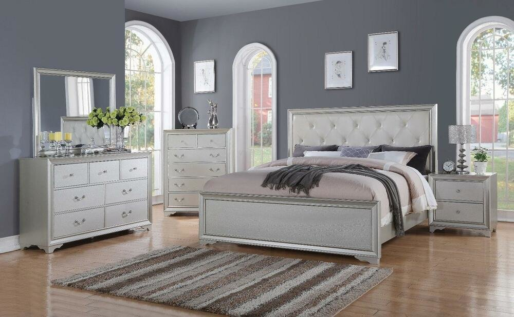 Best Chic Modern Rb508 White Tufted 5Pc Queen Size Contemporary With Pictures