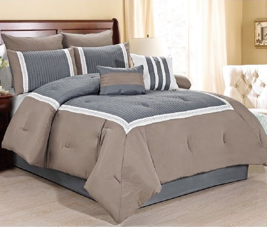 Best New Luxurious 8 Piece Quilted Comforter Set King Size With Pictures
