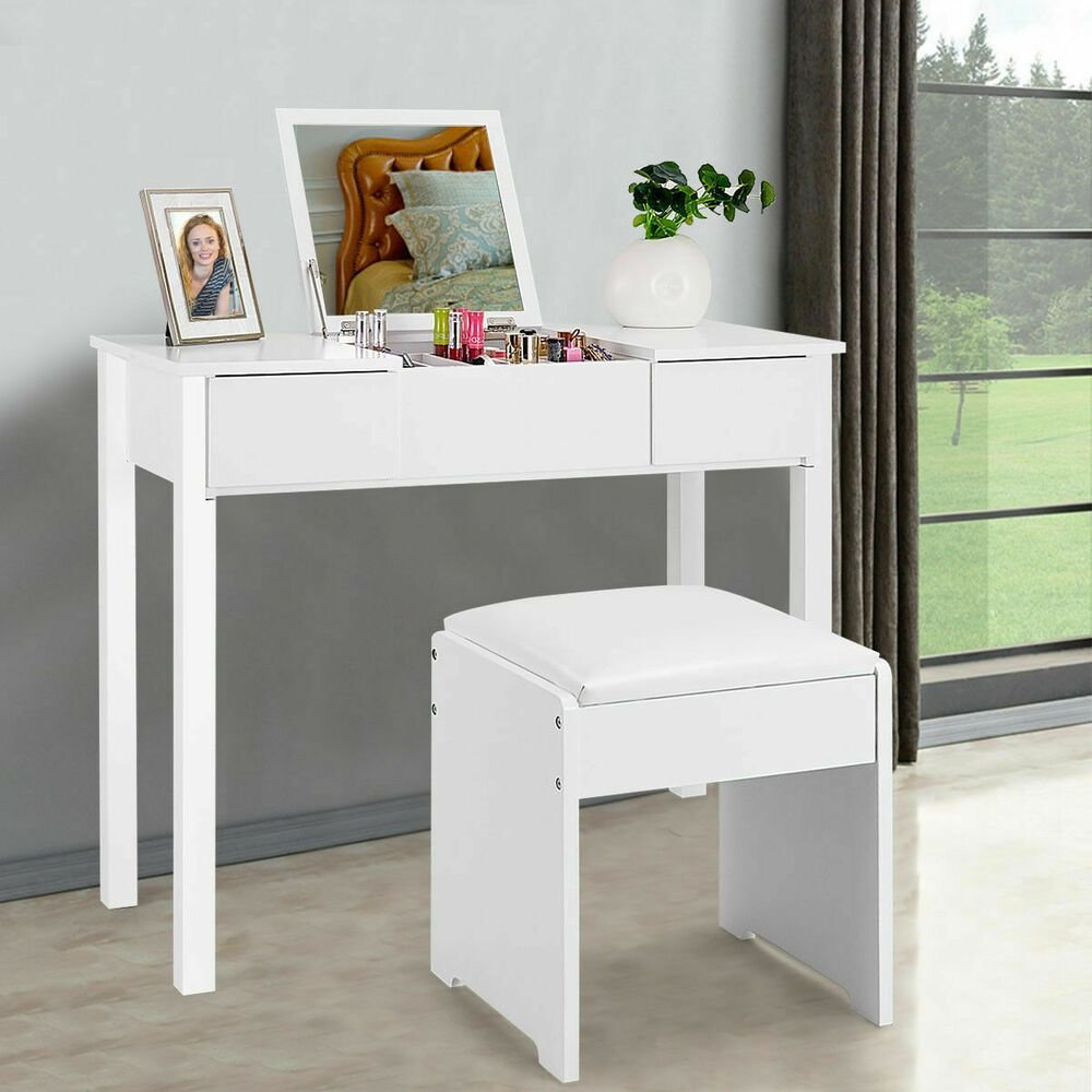 Best White Vanity Dressing Table Set Mirrored Bedroom Furniture With Pictures