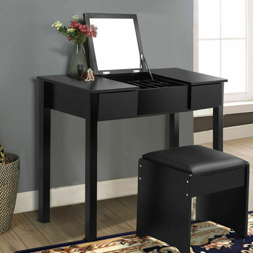 Best Black Vanity Dressing Table Set Mirrored Bedroom Furniture W Stool Storage Box Ebay With Pictures