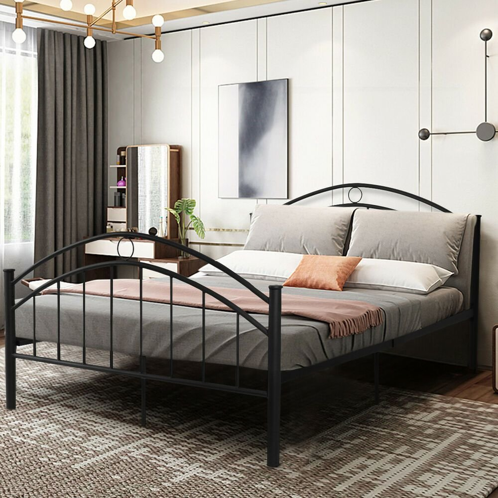 Best Black Queen Size Metal Bed Frame Mattress Platform With Pictures