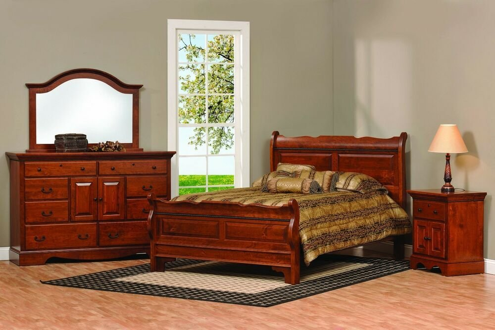 Best Amish Sleigh Raised Panel Bedroom Set Solid Wood Furniture With Pictures