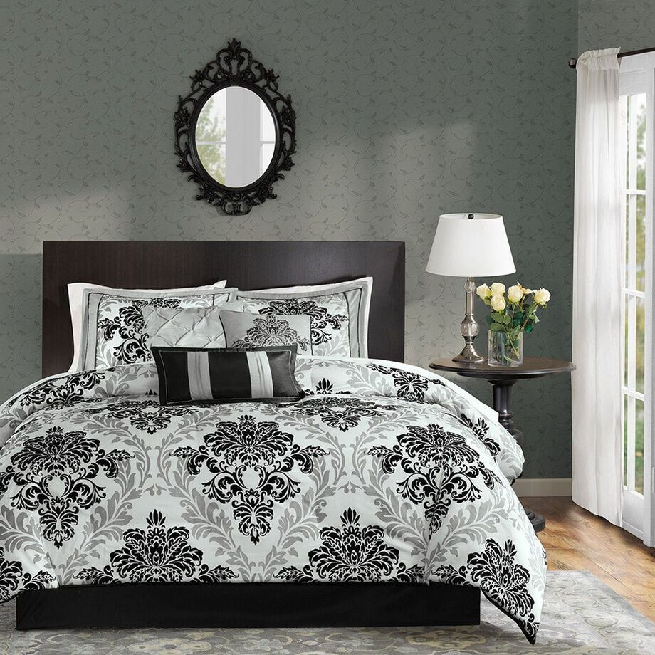 Best Queen Black White Gray Medallion Damask Bedroom 7 Pc With Pictures