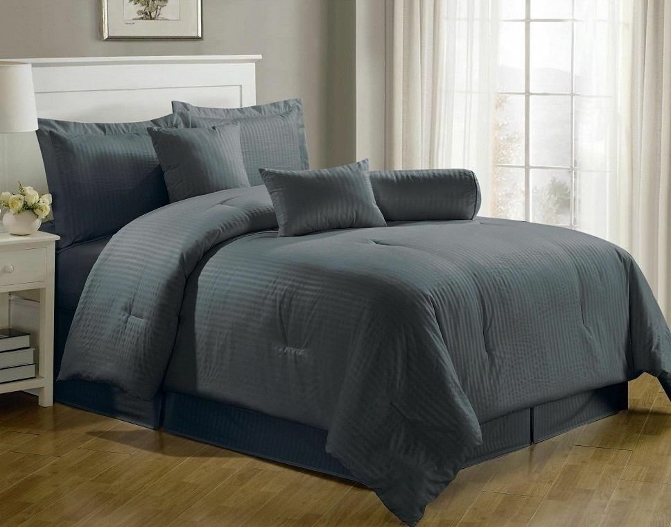 Best Luxurious 7 Piece Comforter Set King Size Bedding Gray Bedspread Bed In A Bag Ebay With Pictures