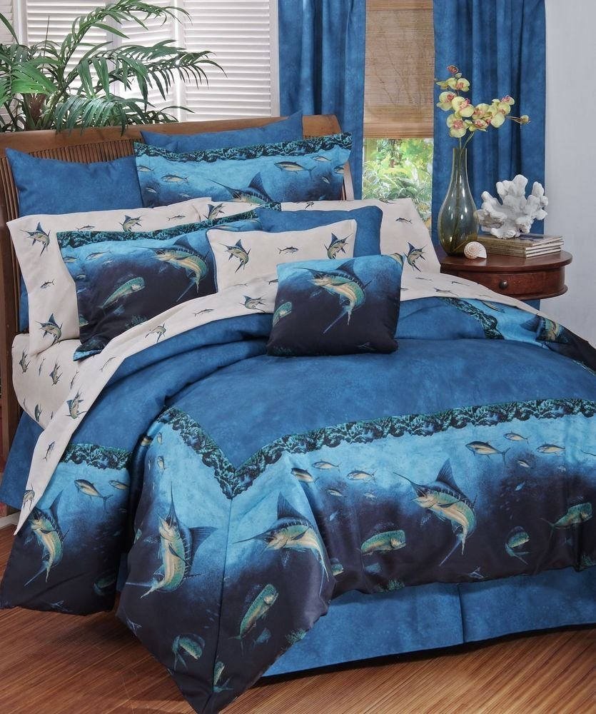 Best Blue Marlin Coral Reef Bedding Comforter Set Coastal Ocean With Pictures