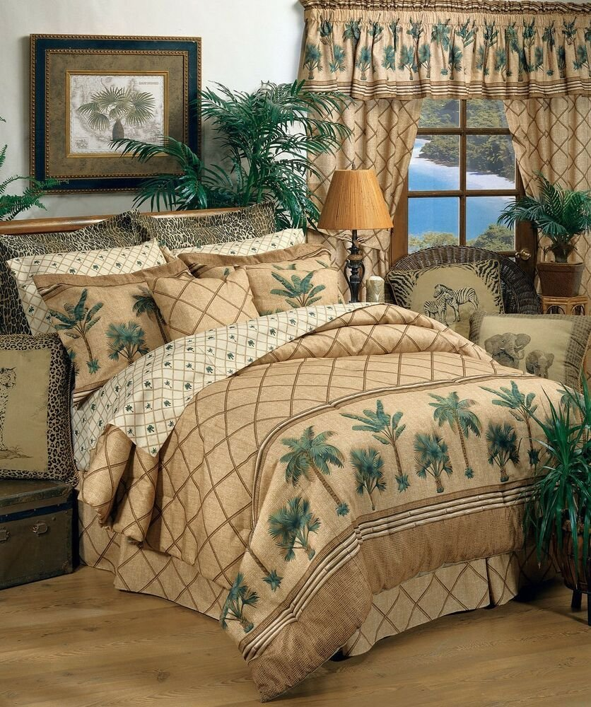 Best Karin Maki Kona Palm Tree Tropical Bedding Comforter Set Or Bed In Bag 4 Sizes Ebay With Pictures