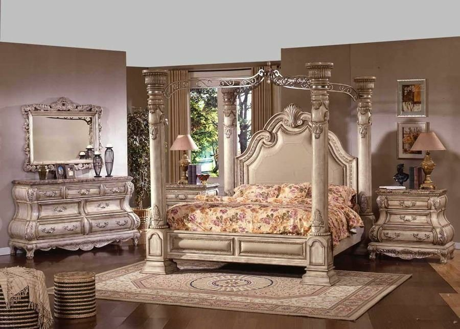 Best Antique White Master Bedroom Set Huge Column 4 Post Canopy Bed Complete Set Ebay With Pictures