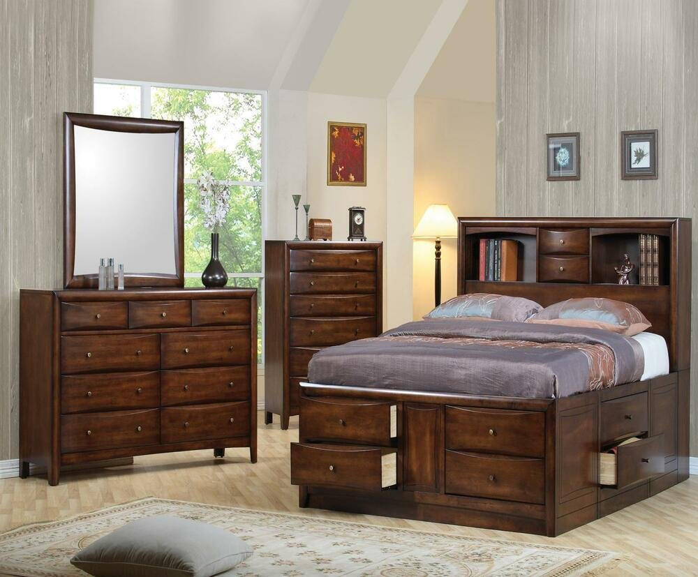 Best 5 Pc California King Bookcase Storage Bed Ns Dresser Chest With Pictures