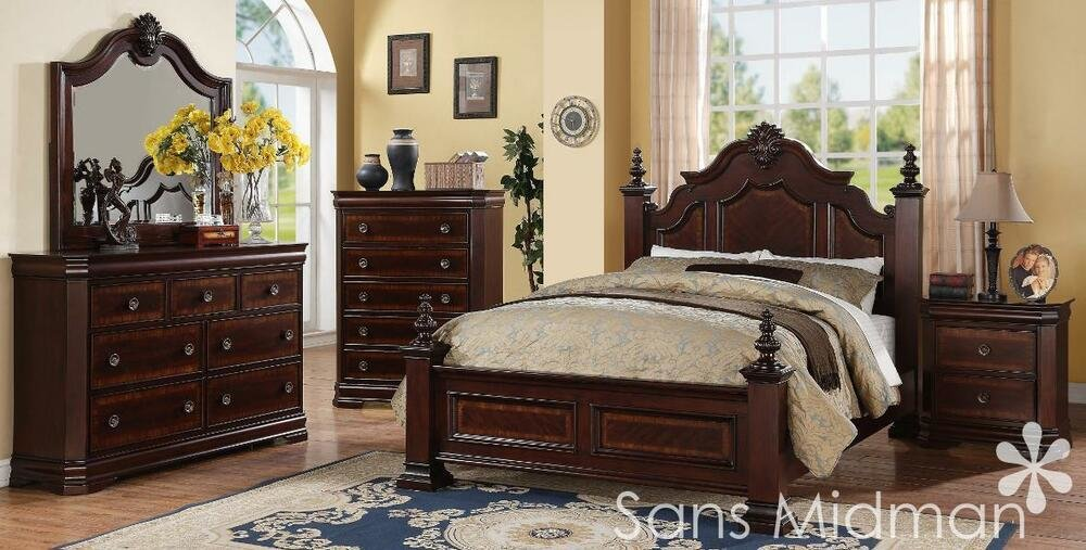 Best New Chanelle King Size Bed Set 5 Pc Traditional Cherry With Pictures