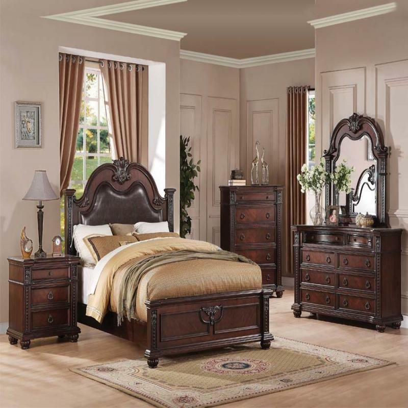 Best Daruka Cherry Formal Traditional Antique Queen Bed 4Pcs With Pictures