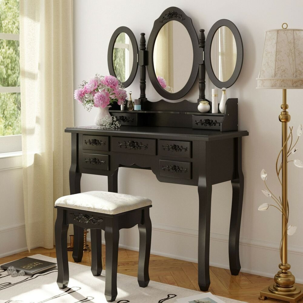 Best Black Wood Makeup Vanity Table Set Mirror Stool Dressing Table Bedroom Furniture Ebay With Pictures