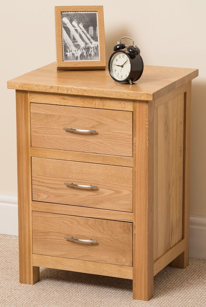 Best Boston Solid Oak Wood Small Bedside Table Unit 3 Drawer With Pictures