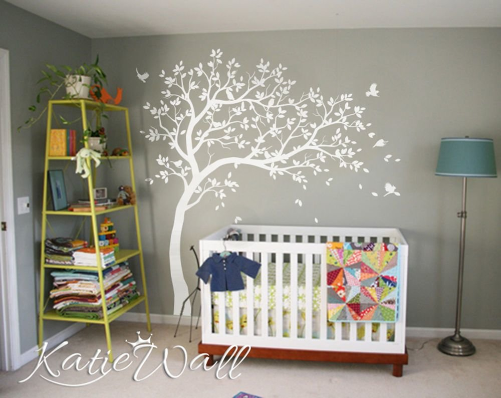 Best Nursery Wall Decal Large White Tree Kids Room Wall With Pictures